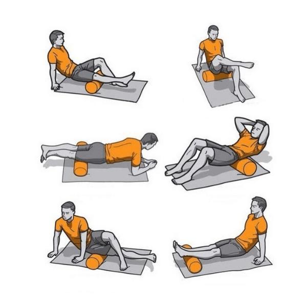 Exemples des étirements avec le rouleau de massage